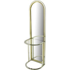Arched Chrome and Brass Console Mirror