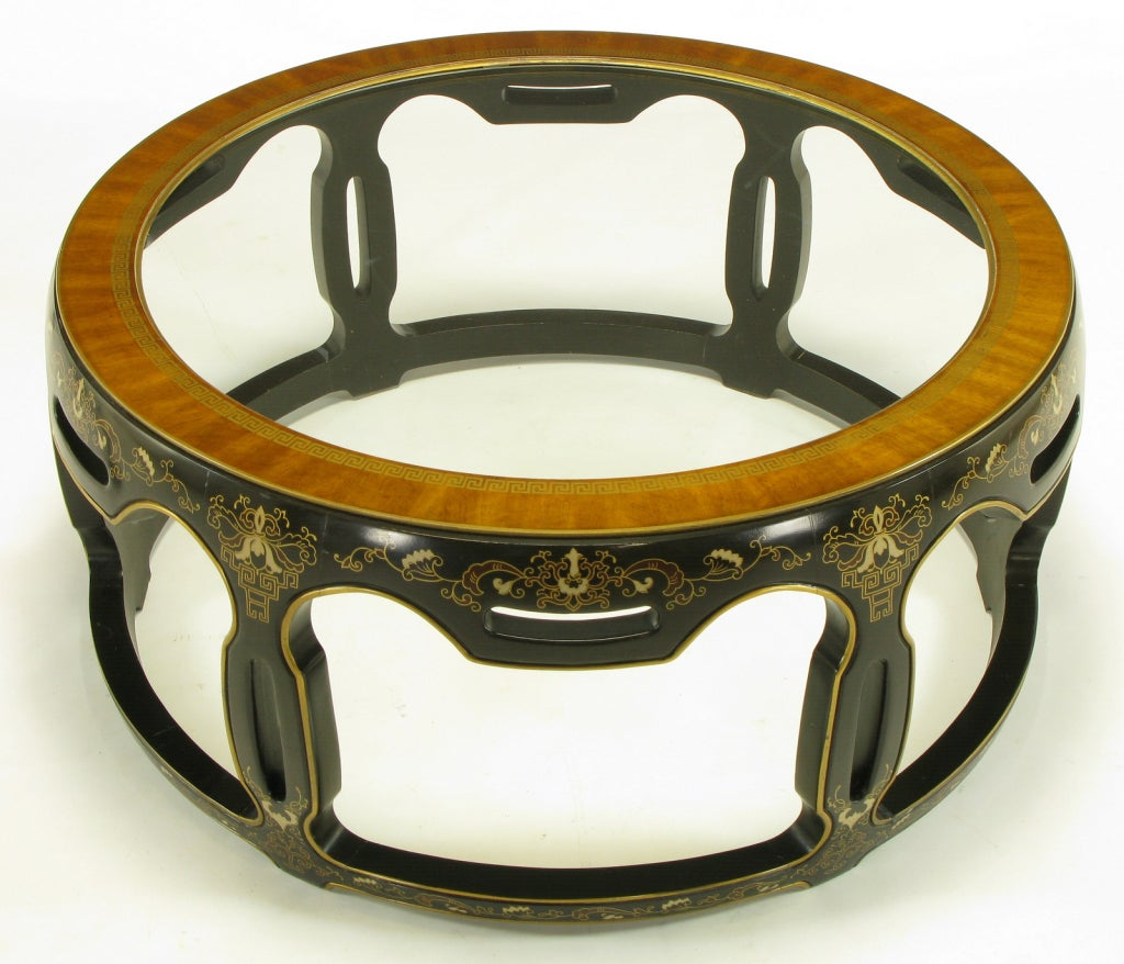 American Asian Open Drum Coffee Table - Lacquered & Parcel Gilt For Sale