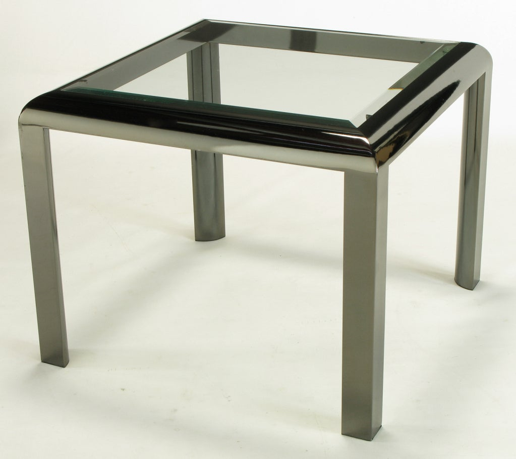 Mid-Century Modern DIA End Table in Radiused Gunmetal with Beveled Glass For Sale