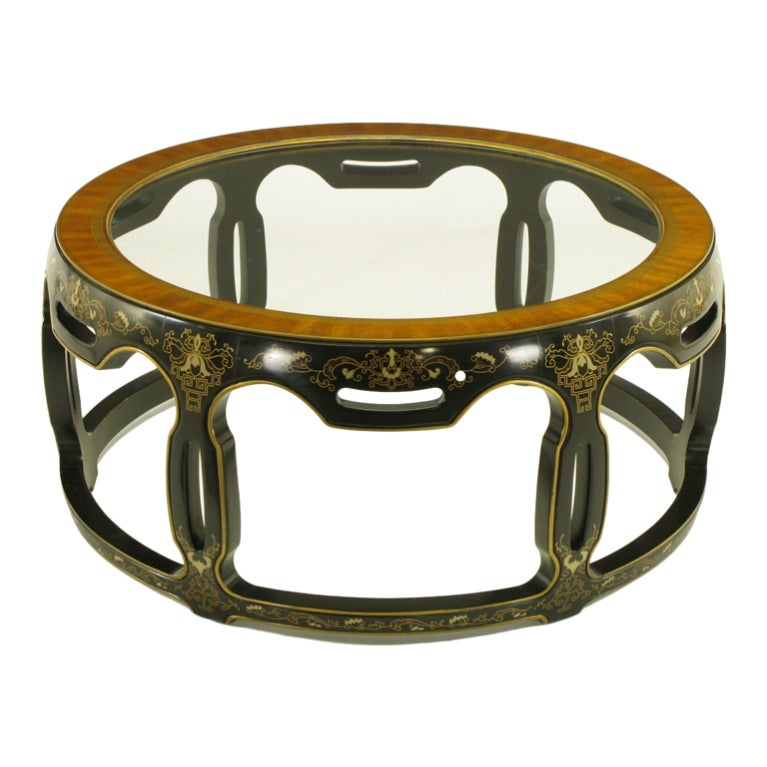 Asian Open Drum Coffee Table - Lacquered & Parcel Gilt For Sale