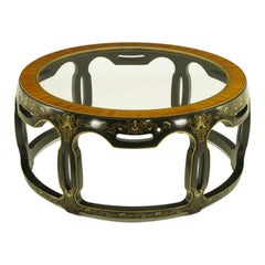 Asian Open Drum Coffee Table, Lacquered and Parcel-Gilt