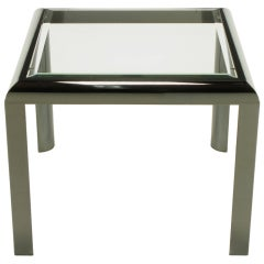 DIA End Table In Radiused Gunmetal With Beveled Glass