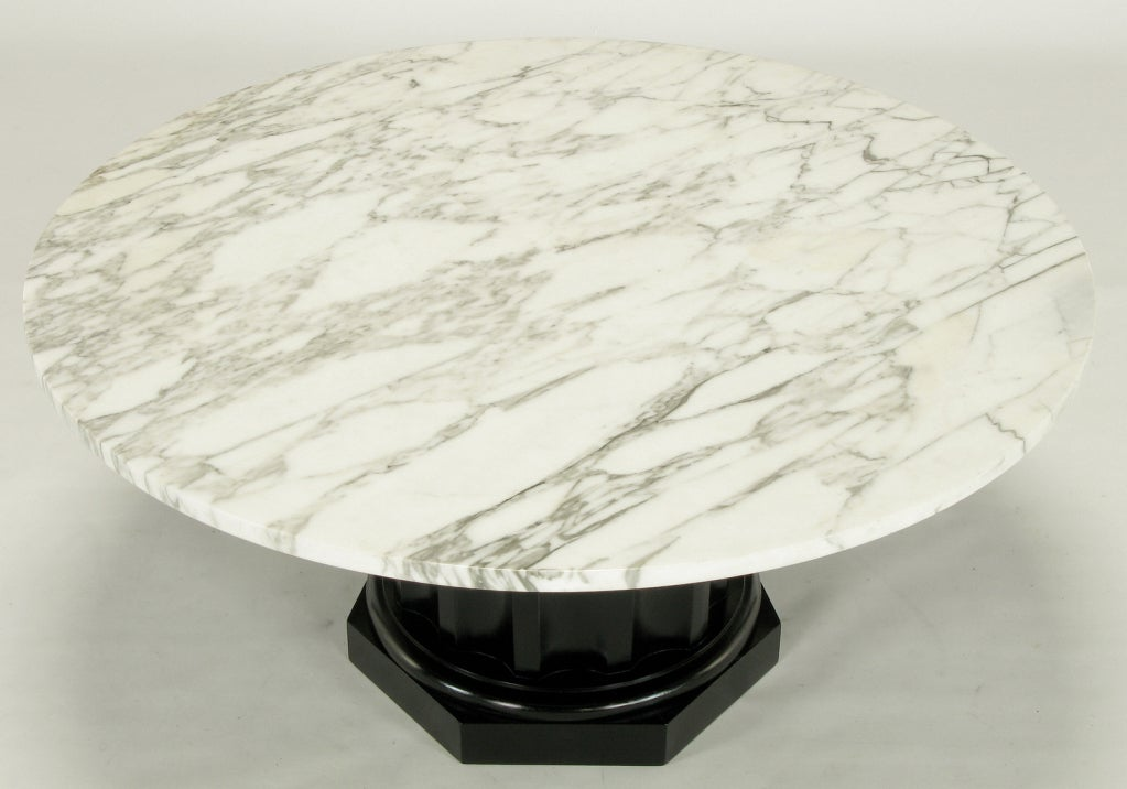 White Carrera Marble Coffee Table With Ebonized Fluted Wood Base At 1stdibs