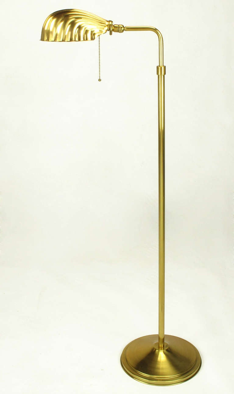pharmacy style brass shell shade floor lamp at 1stdibs. Black Bedroom Furniture Sets. Home Design Ideas