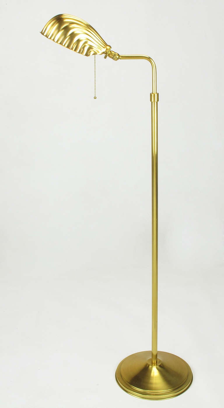 Pharmacy Style Brass Shell Shade Floor Lamp Image 3