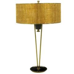 Rare 1950s Black Lacquer & Brass Suspension Stiffel Table Lamp
