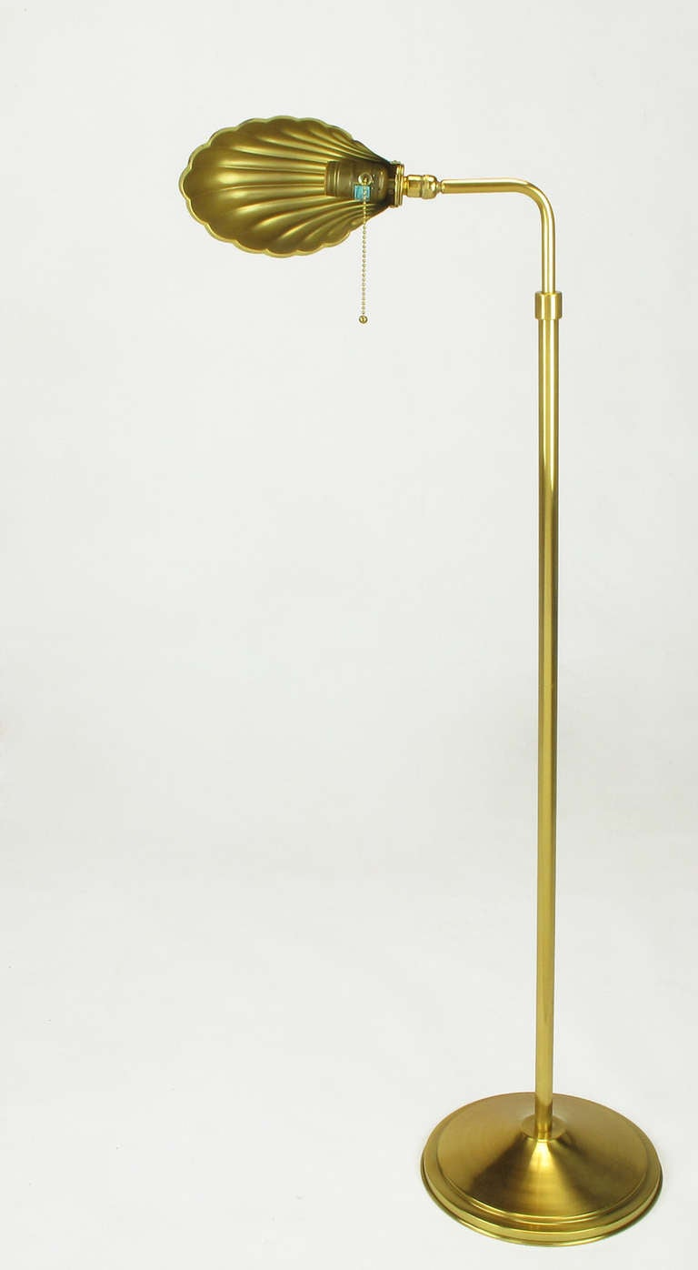 Pharmacy Style Brass Shell Shade Floor Lamp At 1stdibs