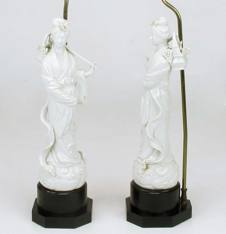 Pair blanc de chine female figure table lamps for sale at for Table de chine