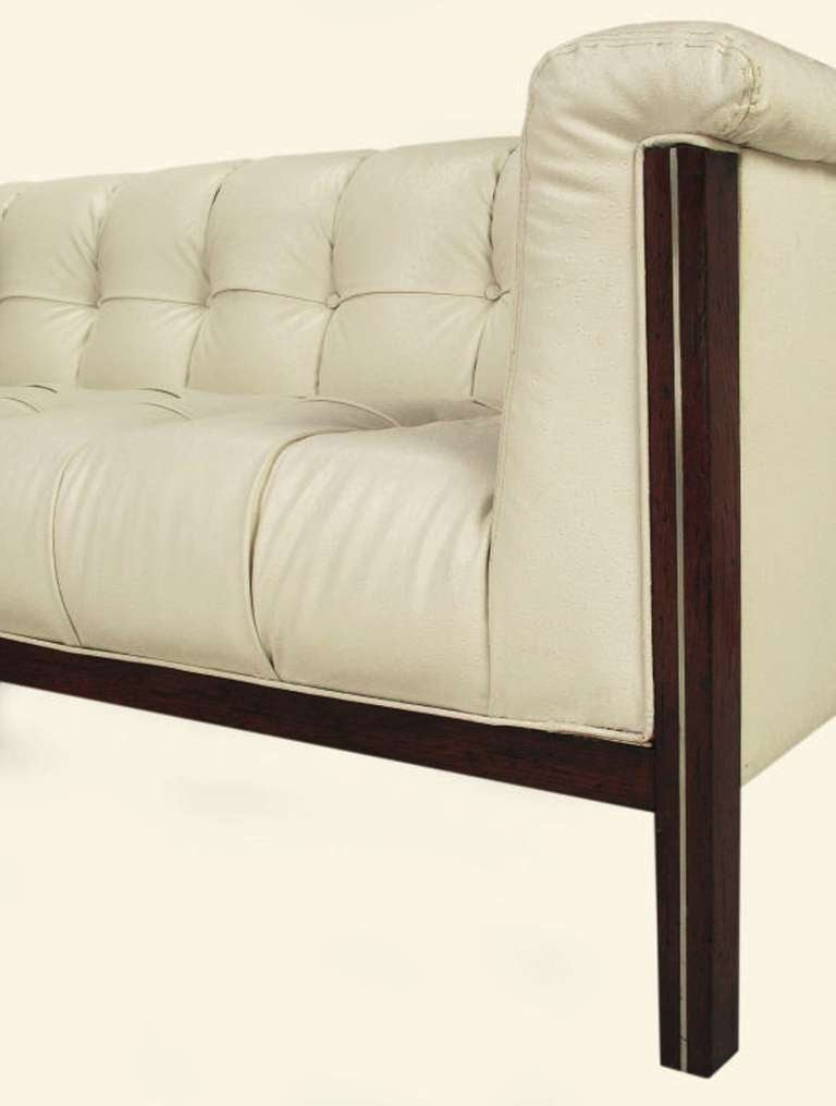rare bert england button tufted white ostrich texture sofa for sale at 1stdibs. Black Bedroom Furniture Sets. Home Design Ideas
