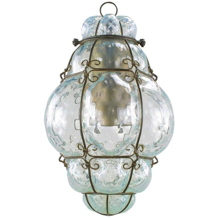softest blue murano caged glass pendant light. Black Bedroom Furniture Sets. Home Design Ideas