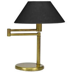 Walter Von Nessen Brushed Brass Swing-Arm Desk Lamp