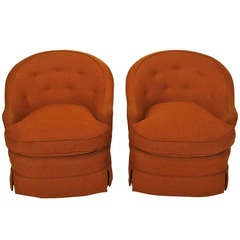 Pair of Burnt Umber Button Tufted Wool Swivel Chairs