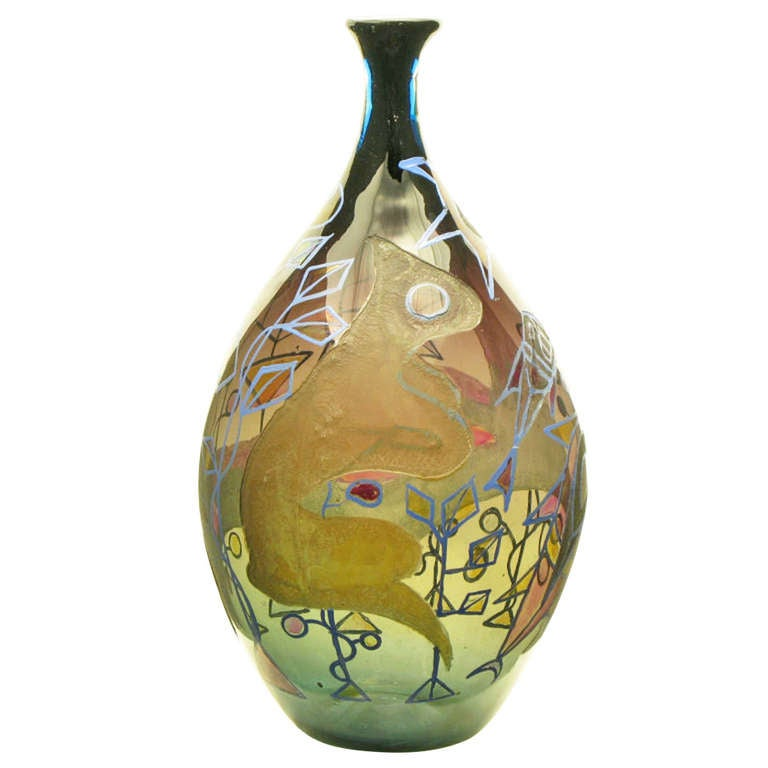 Italian Acid Etched And Hand Painted Abstract Smoked Glass Vase For