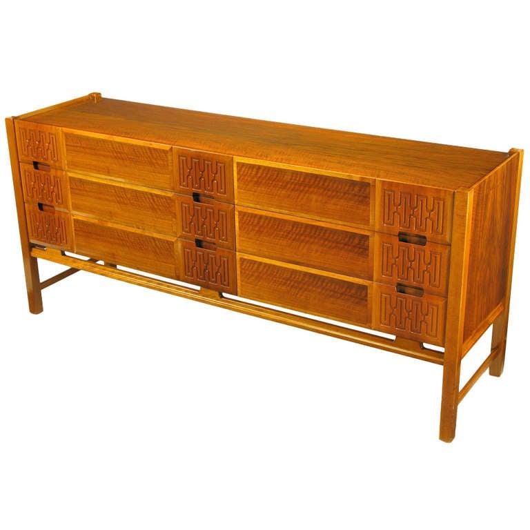 Swedish Teak Carved-Front Long Dresser Attributed to Edmond Spence