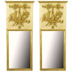 Pair Italian Empire Ivory and Parcel Gilt Trumeaux Mirrors
