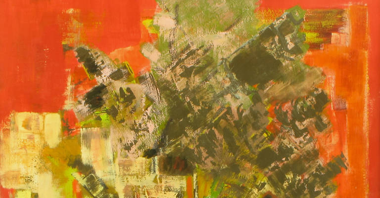 American Vibrant Persimmon, Brown and Chartreuse Abstract Acrylic on Poster Board Signed For Sale