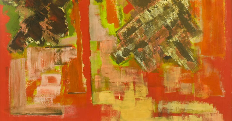 Mid-20th Century Vibrant Persimmon, Brown and Chartreuse Abstract Acrylic on Poster Board Signed For Sale