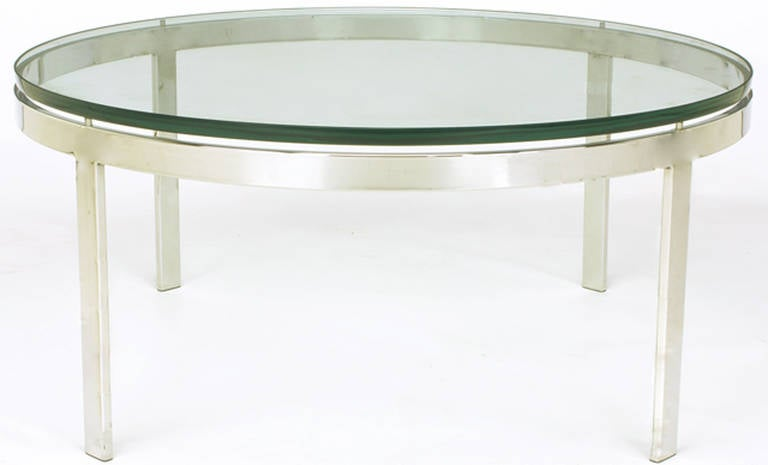 36 American Round Nickel Over Steel Floating Gl Coffee Table For