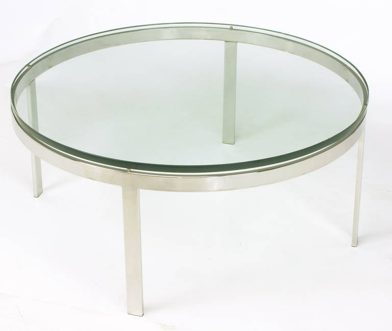 American Round Nickel over Steel Floating Glass Coffee Table For Sale