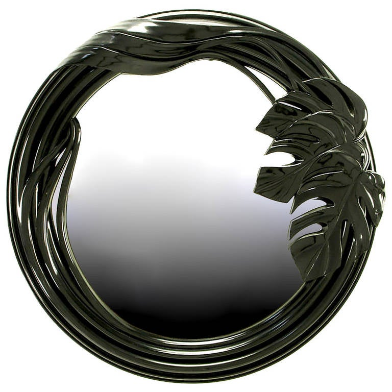 Black Lacquer Art Deco Revival Foliate Round Mirror 1