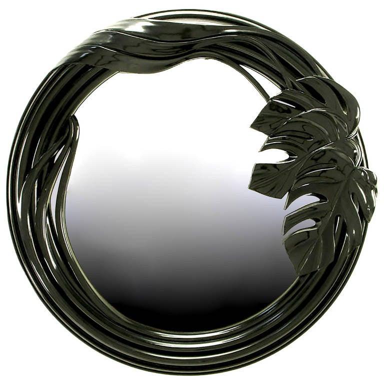 Black Lacquer Art Deco Revival Foliate Round Mirror For Sale