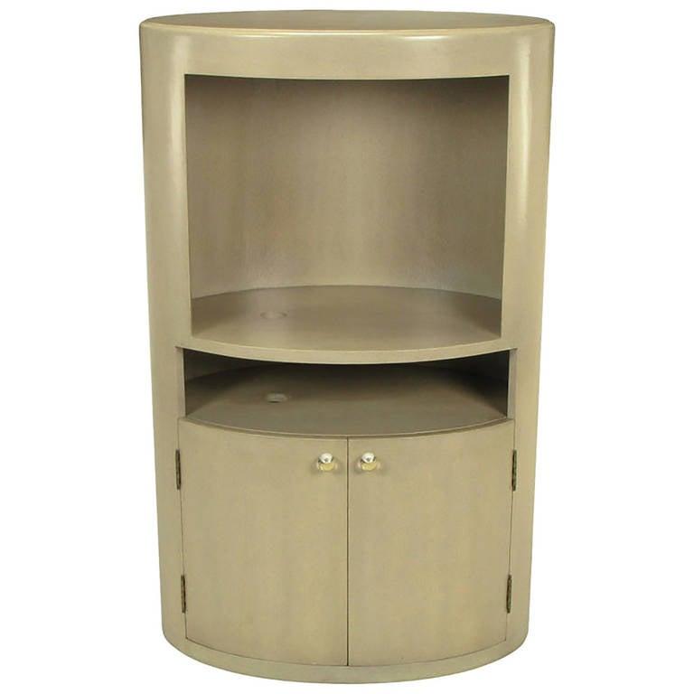 Custom Driftwood Grey Birch Oval Tall Cabinet For Sale