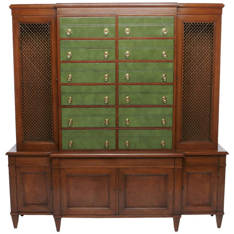 Renzo Rutili Green Leather and Mahogany Breakfront Library Cabinet with Desk For Sale