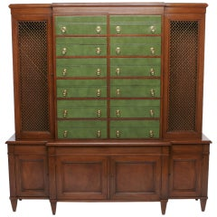 Renzo Rutili Green Leather and Mahogany Breakfront Library Cabinet with Desk