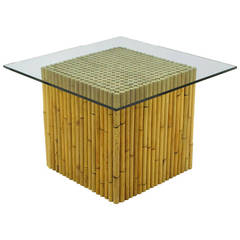 Reeded Bamboo Cube and Glass End Table