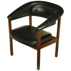 Walnut and Black Upholstery Barrel Back Desk Chair