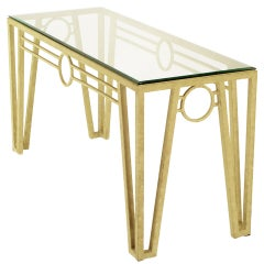 Ivory Textured Iron Art Deco Revival Console Table