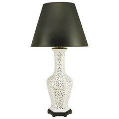 Large Reticulated Blanc de Chine Porcelain Table Lamp