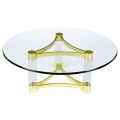 Brass and Lucite Reverse Trefoil Coffee Table
