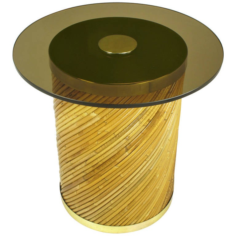 Reeded Bamboo and Brass Smoked Glass Side Table