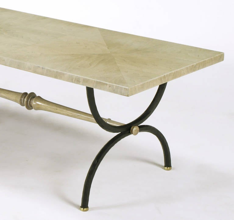 Brass Tomlinson Driftwood Glazed Coffee Table with Triple-Curule Forged Iron Base For Sale