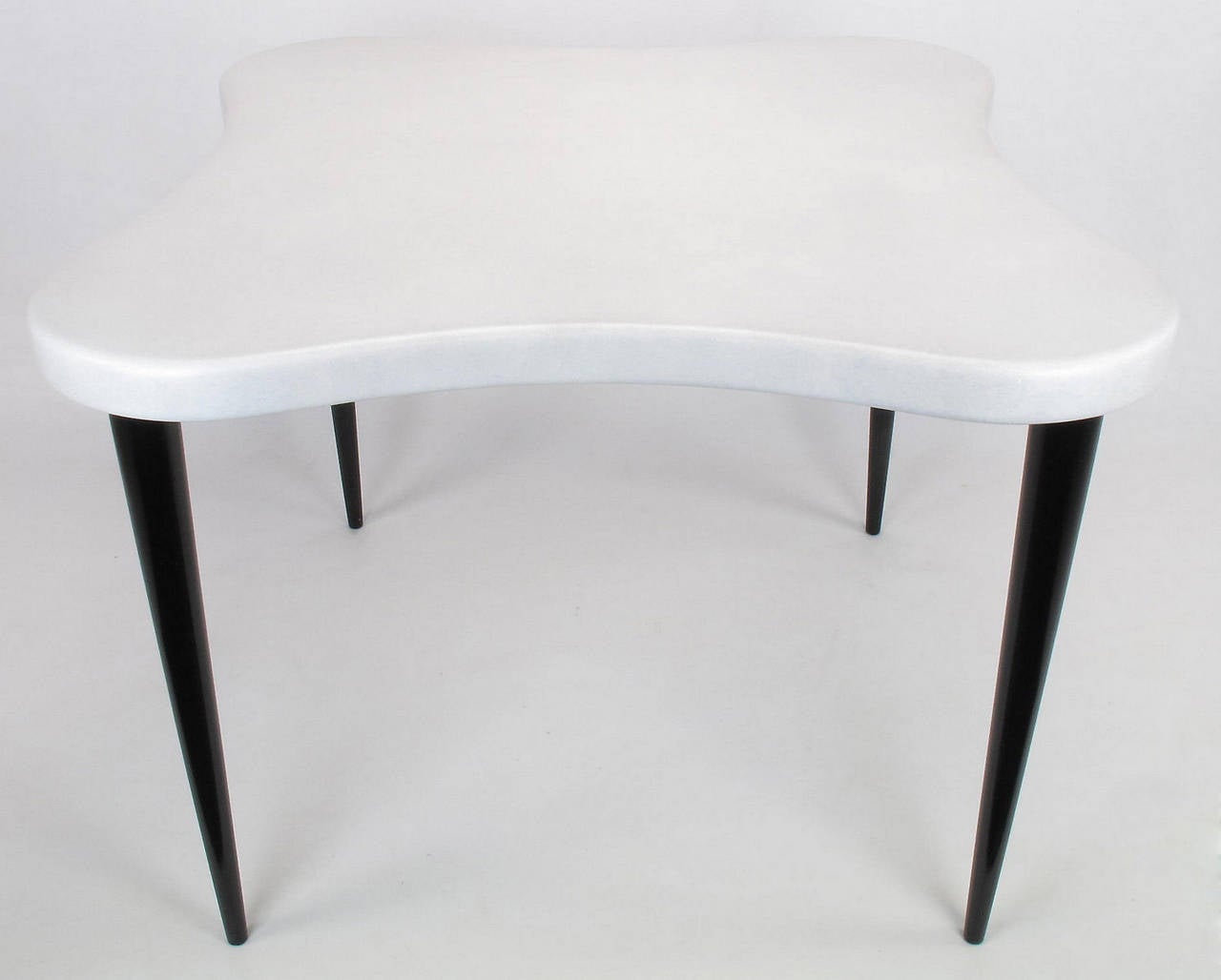Restored Paul Frankl For Johnson Furniture, Quatrefoil Cork Top Game Table  With Ebonized Mahogany Legs