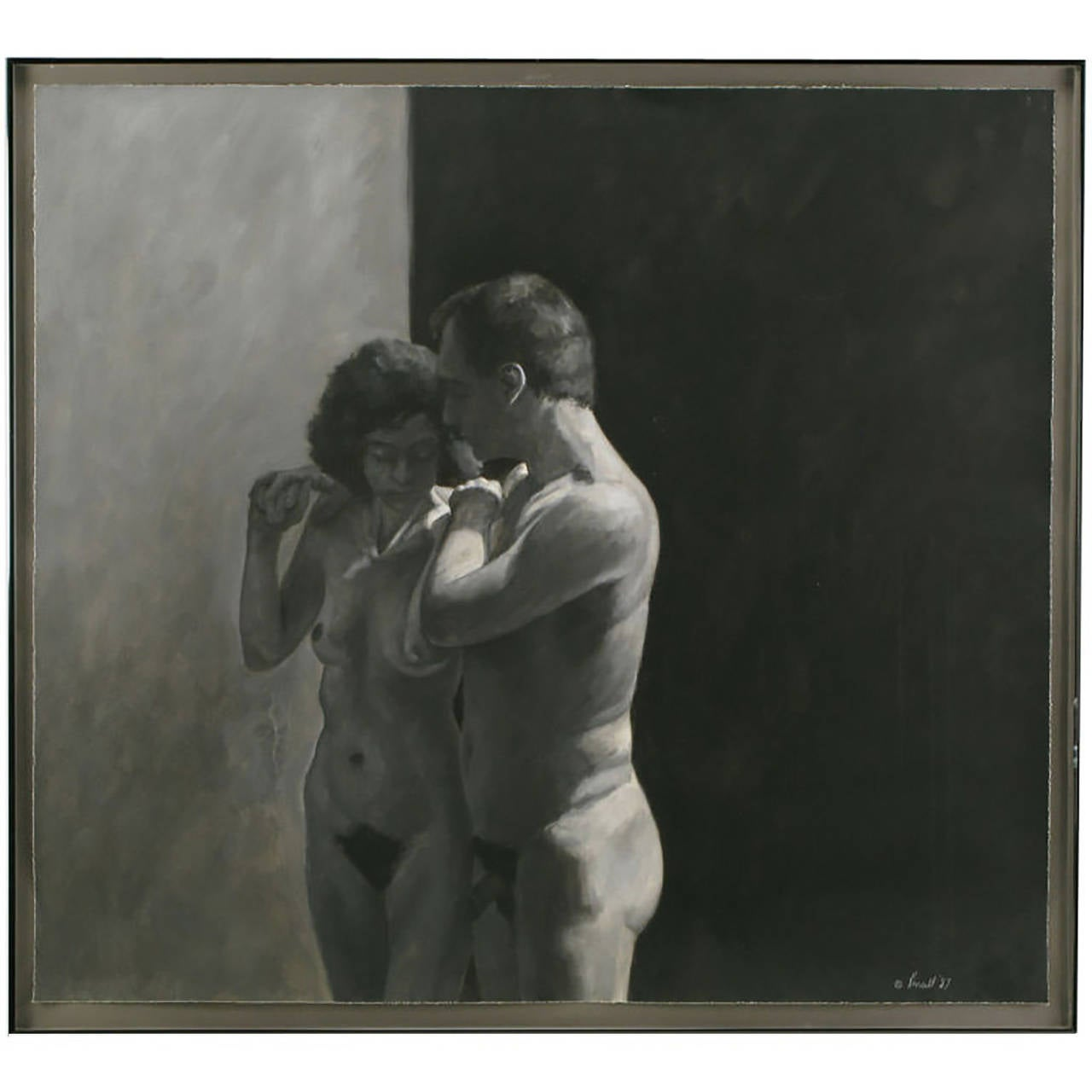 Gouache painting with charcoal drawing of a nude man and woman in a gallery style brushed gunmetal frame, signed Kinsell, 1987.  Dimensions inside frame: H 42