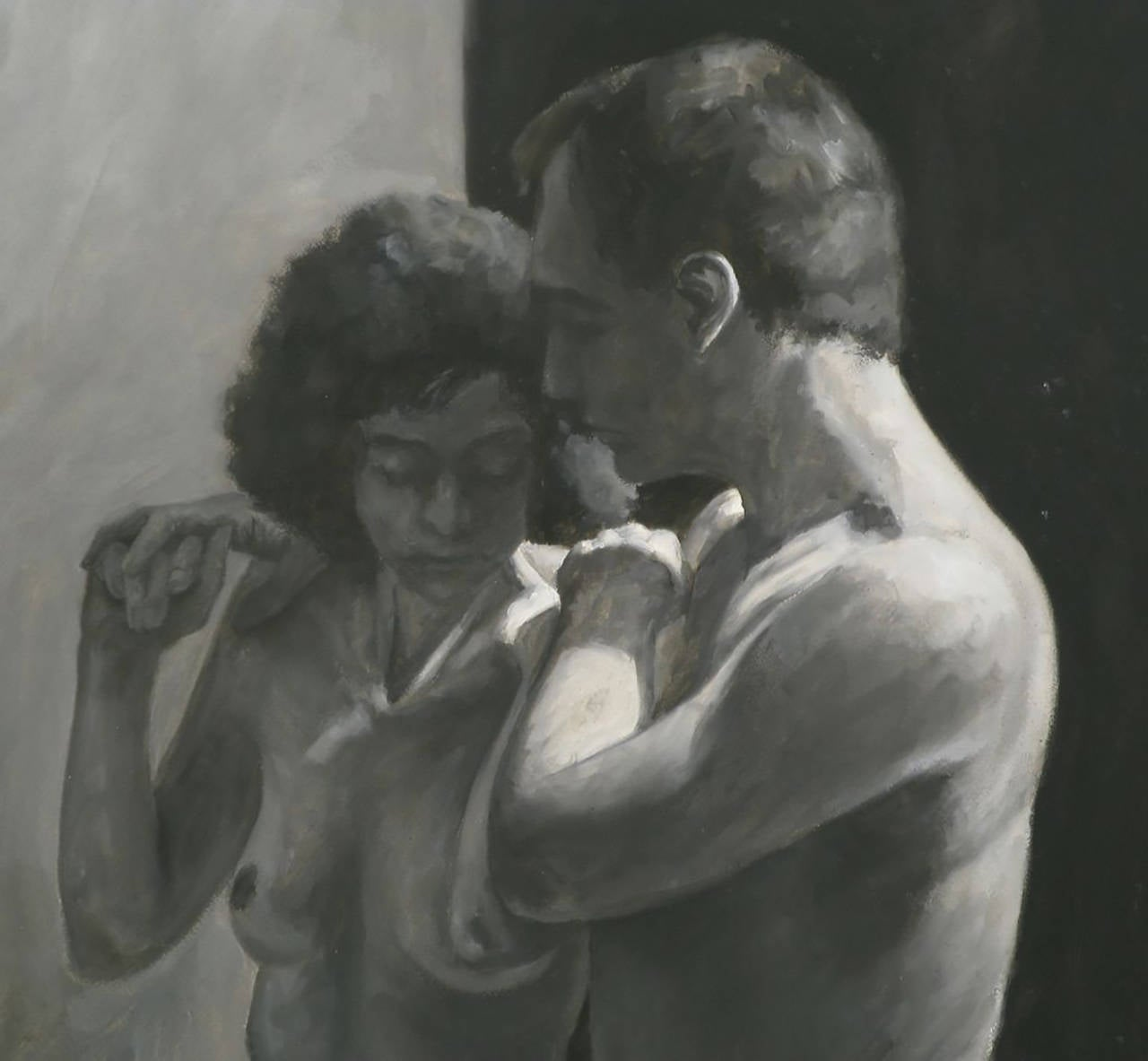 American Robert Kinsell Charcoal and Gouache of Nude Couple For Sale