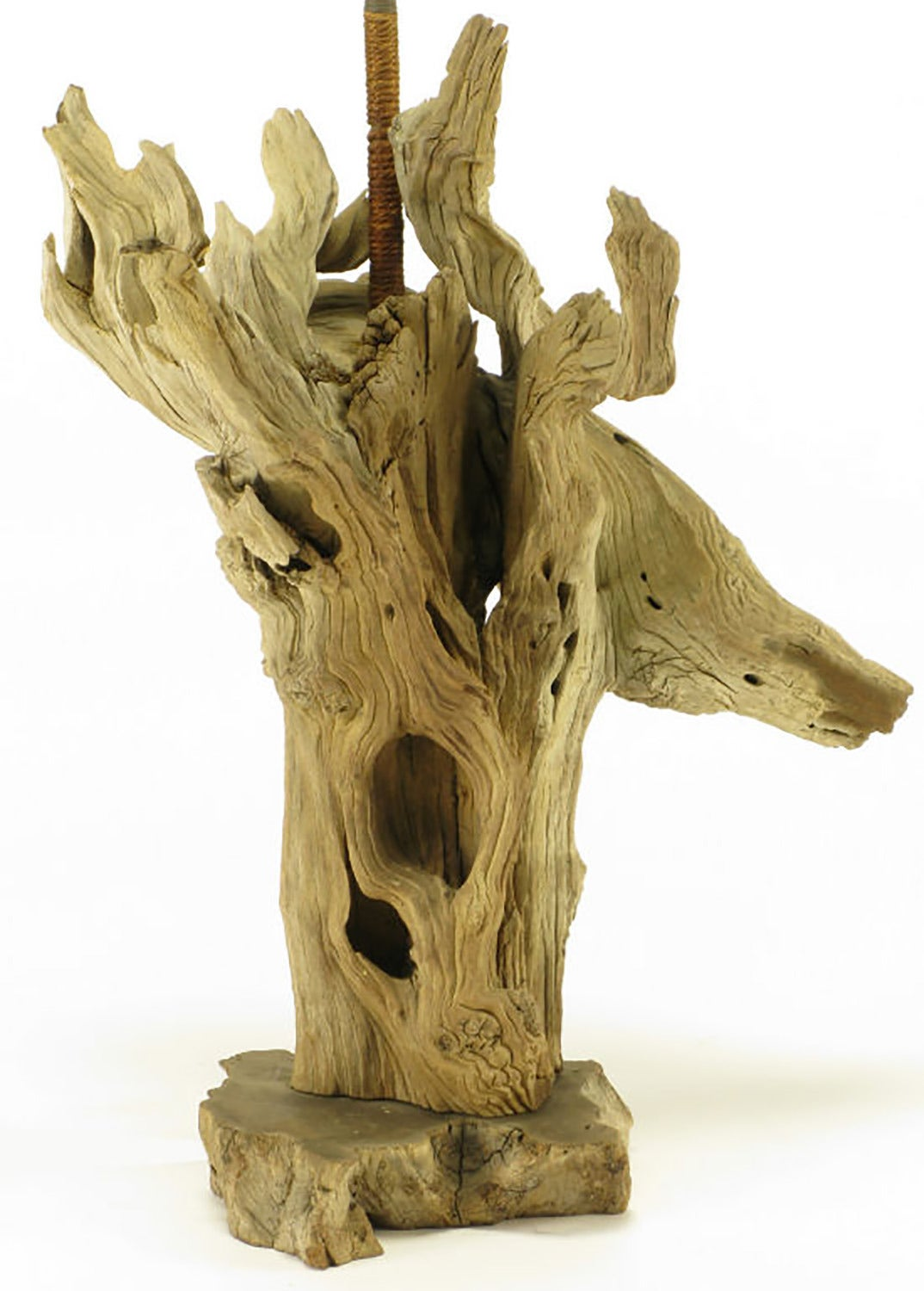 American Driftwood Table Lamp with Live Edge Wood Base For Sale
