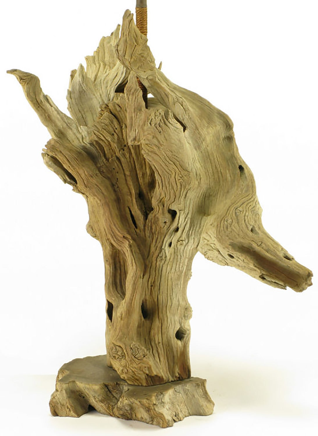 Driftwood Table Lamp with Live Edge Wood Base In Excellent Condition For Sale In Chicago, IL