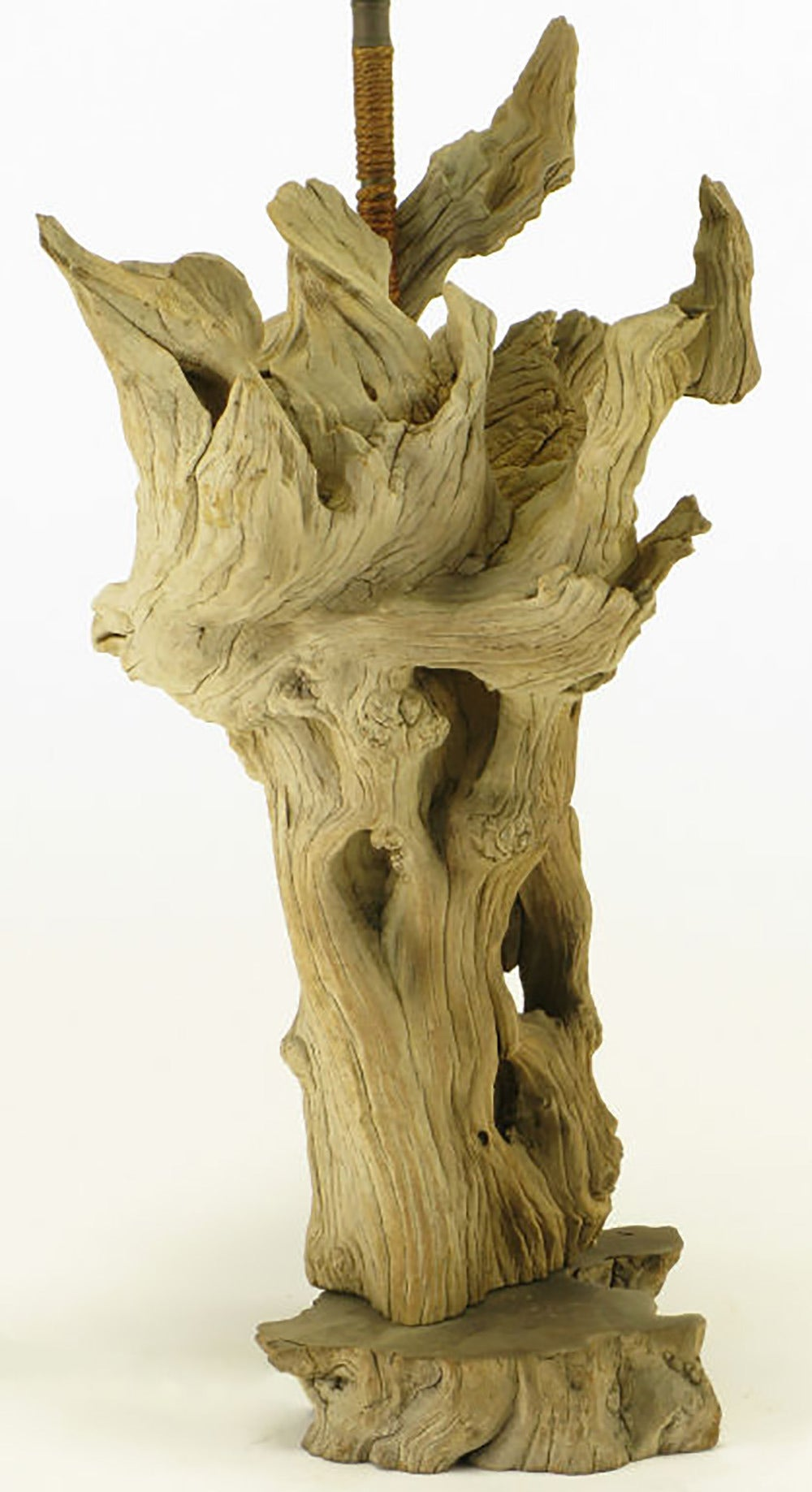 Mid-20th Century Driftwood Table Lamp with Live Edge Wood Base For Sale