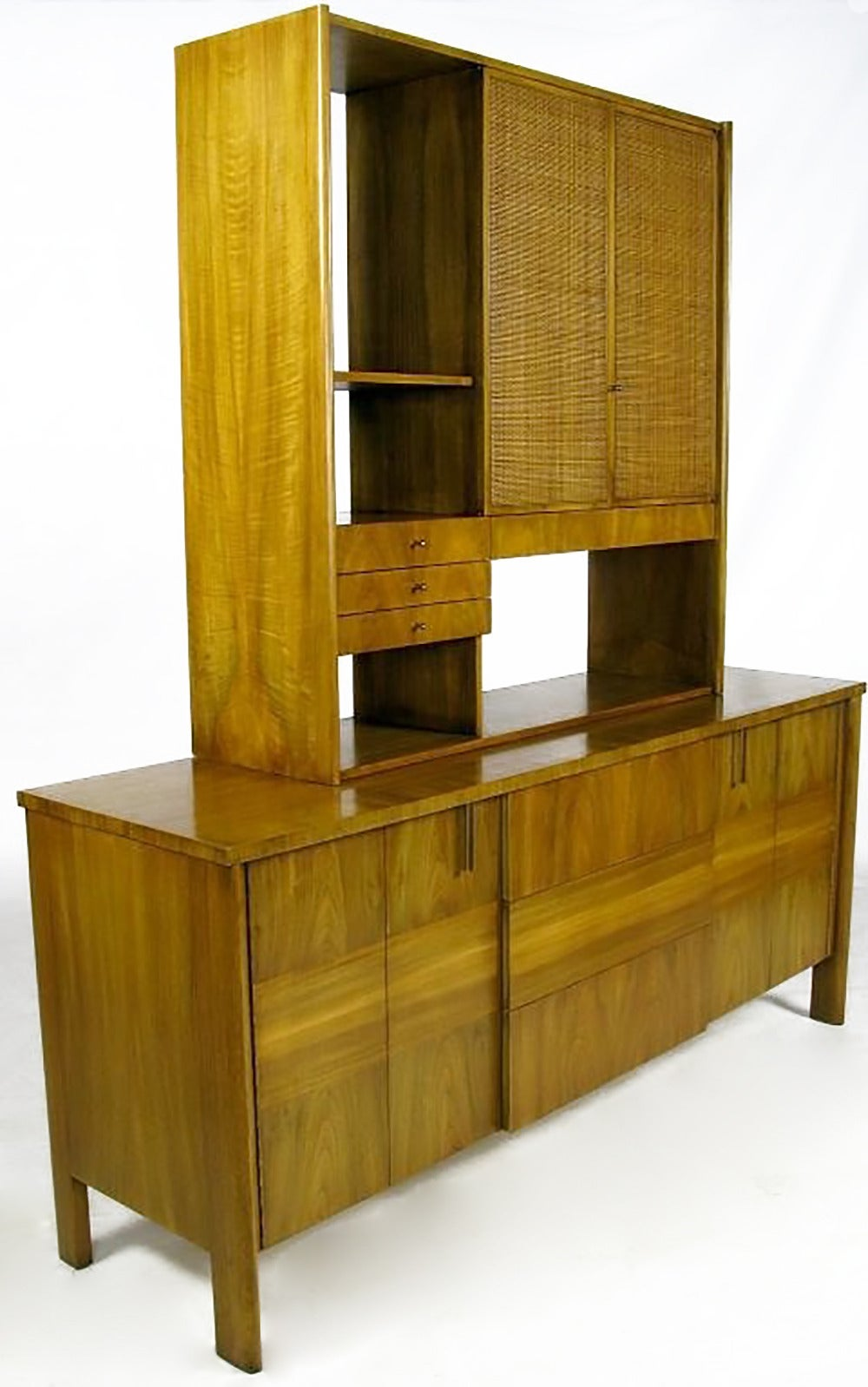Dale Ford Walnut and Cane Sideboard by John Widdicomb In Good Condition For Sale In Chicago, IL