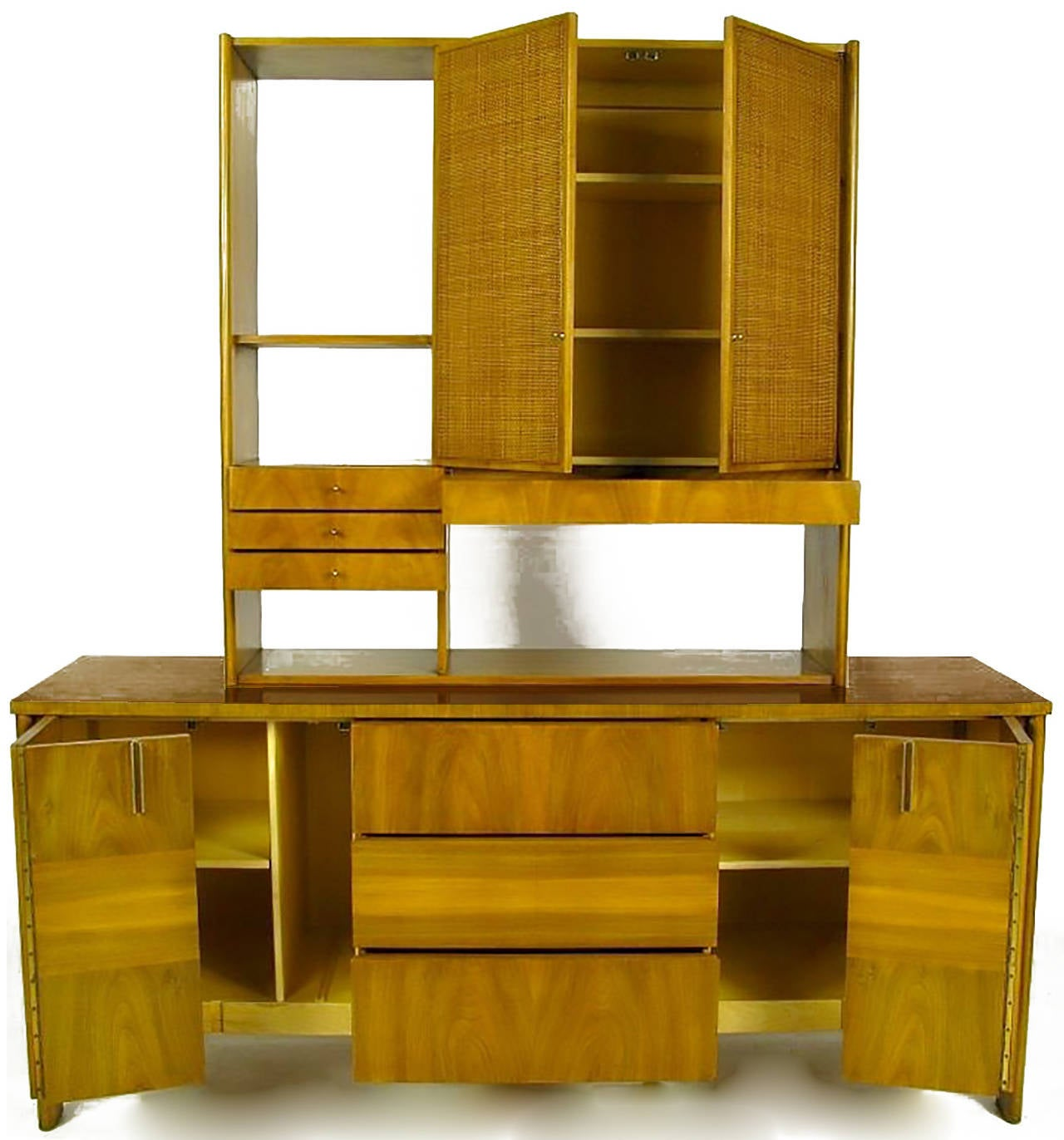 American Dale Ford Walnut and Cane Sideboard by John Widdicomb For Sale