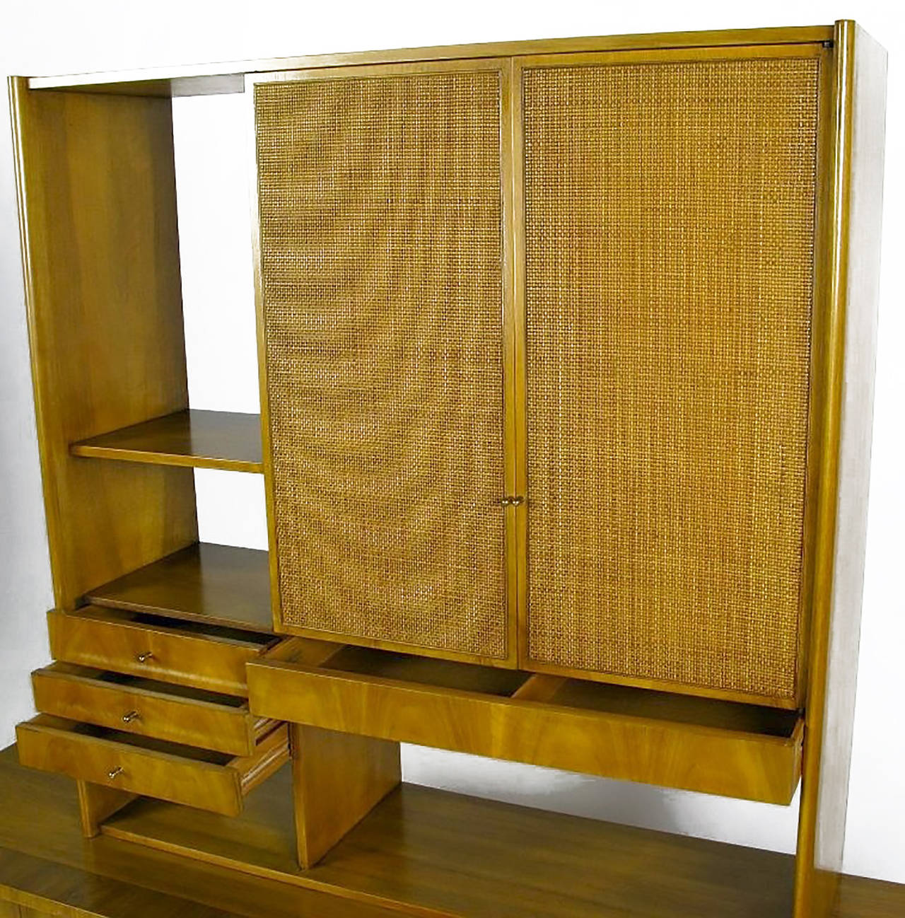 Brass Dale Ford Walnut and Cane Sideboard by John Widdicomb For Sale