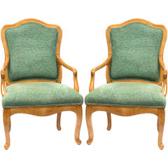 Pair of Sally Sirkin Lewis Louis XV Style Armchairs