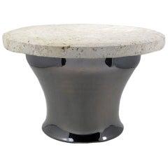 """Karl Springer Gunmetal Copper & Fossil Stone """"Rain Drum"""" Table"""