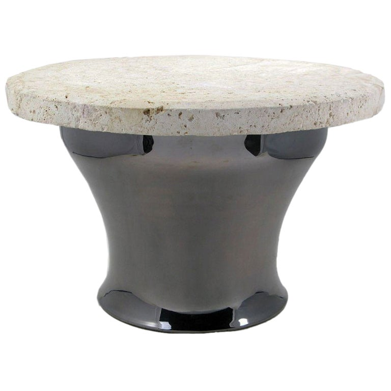 Karl Springer Gunmetal Copper And Fossil Stone Rain Drum Table At 1stdibs