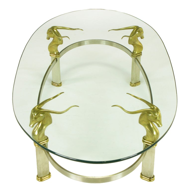 Brushed Stainless Oval Coffee Table With Brass Gazelle Heads