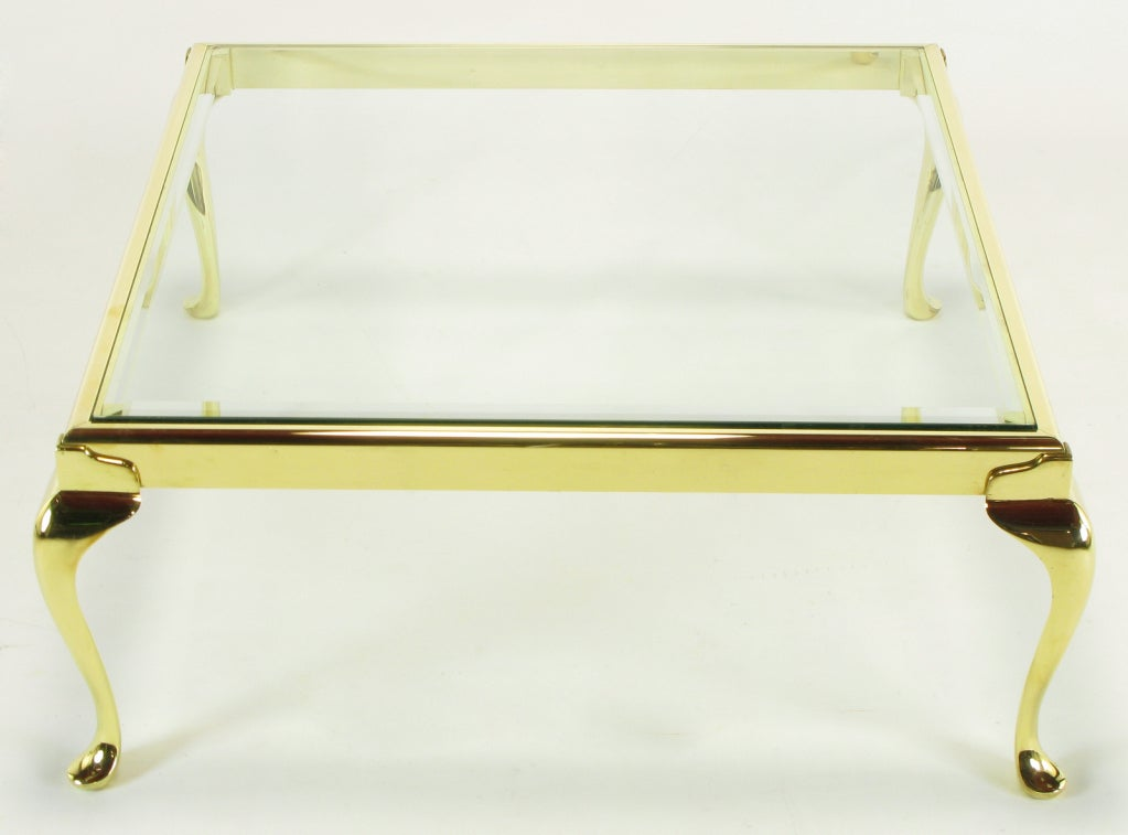 Mid-20th Century Square Solid Brass Cabriole Leg Coffee Table For Sale