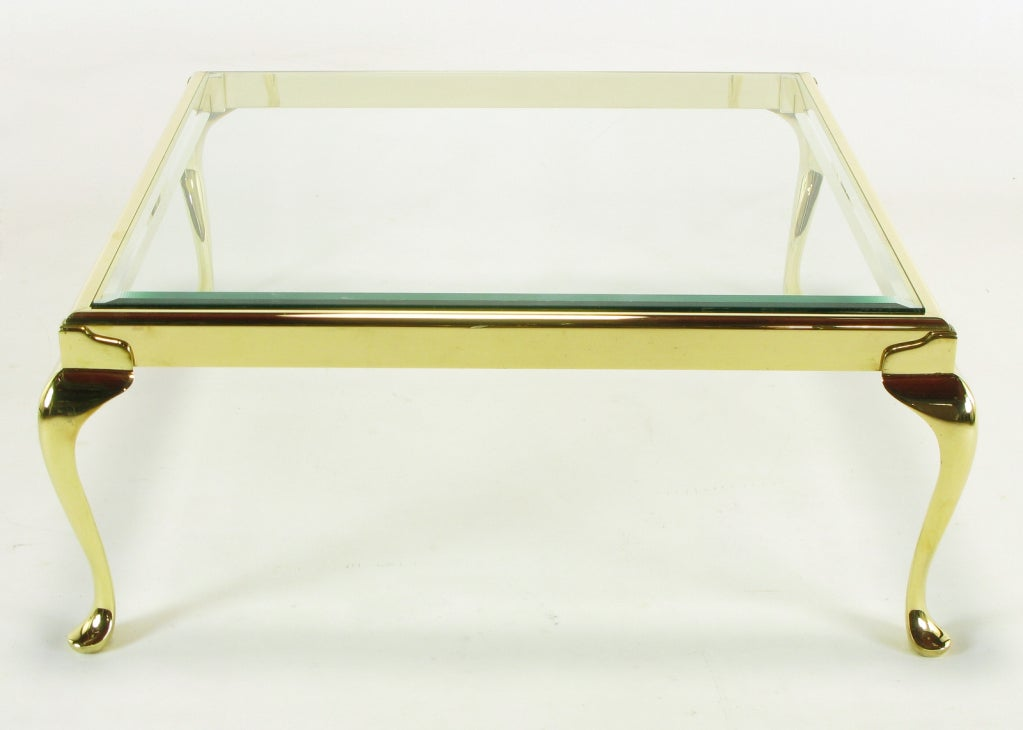 Square Solid Brass Cabriole Leg Coffee Table For Sale 1